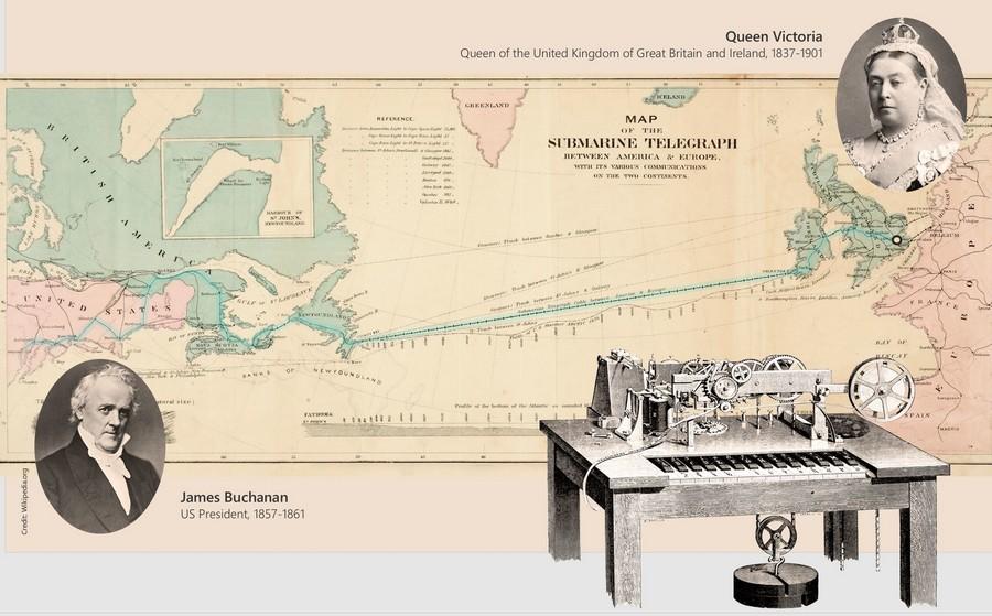 Mỹ khánh thành tuyến cáp quang biển đầu tiên, Nữ hoàng Victoria gửi điện tín chúc mừng Tổng thống Mỹ James Buchanan