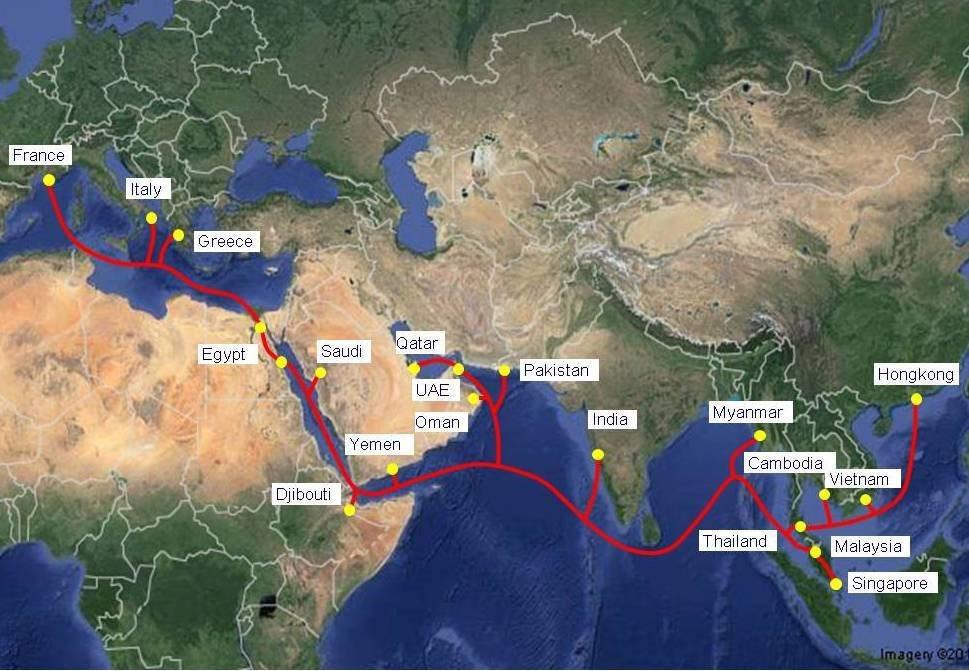 Bản đồ tuyến cáp quang AEE-1
