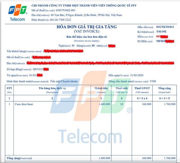 Trên hóa đơn thu tiền cước của FPT Telecom có thông tin về số hợp đồng