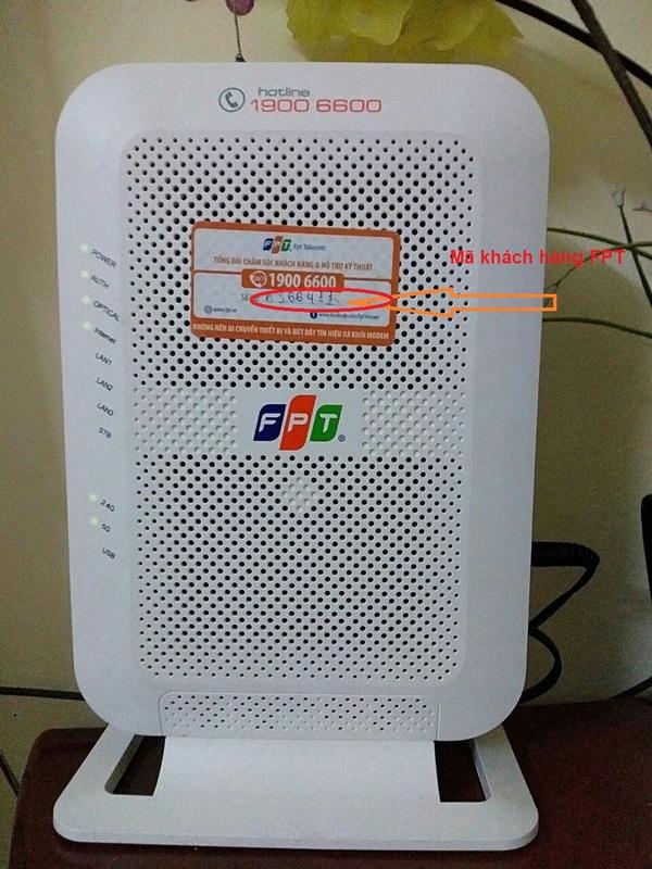 Trên modem wifi FPT có ghi số hợp đồng