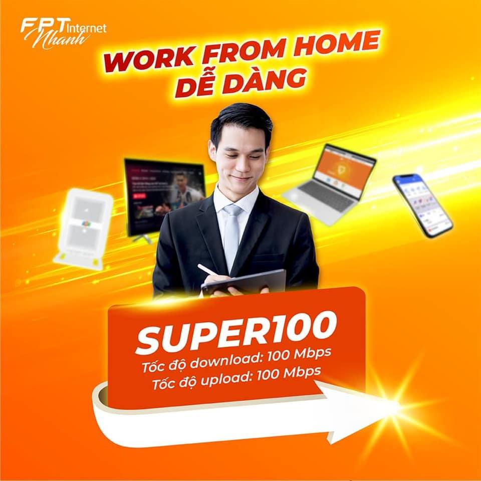 Lắp mạng FPT An Giang gói cước Super 100 hỗ trợ làm việc tại nhà cực tốt