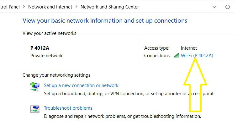 Click vào Wifi Status Connections