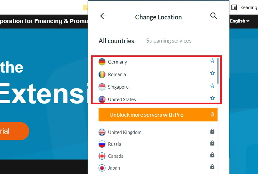 Bản miễn phí chỉ lựa chọn được 4 quốc gia