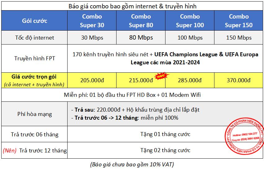 Gói cước combo internet + truyền hình FPT Hưng Yên